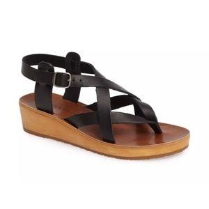 Lucky Brand Hadinas Black Strappy wedge Sandals 7